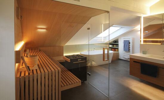 Wellnessbad mit Sauna | Innenarchitekt in München - Andreas ...