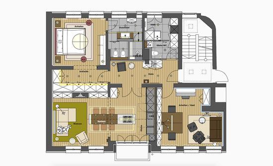 Der Grundriss Der Wohnung Zeigt Die Anordnung Der Räume Um Den Zentralen  Flur Herum An,