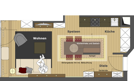 offene k che mit essplatz innenarchitekt in m nchen andreas ptatscheck. Black Bedroom Furniture Sets. Home Design Ideas